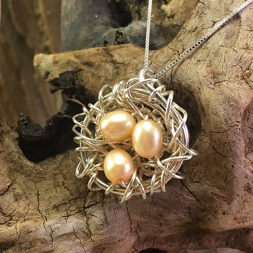 Sterling Seabird Nest with Pearl Eggs Necklace