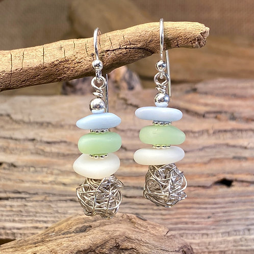 Milk Glass Seaglass with Silver Nest Earrings