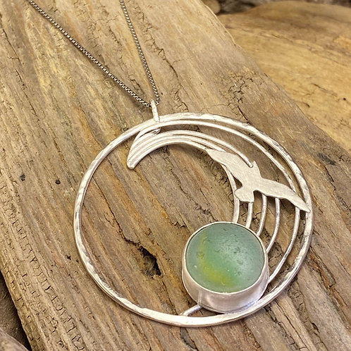 Seaglass Marble Wave Pendant