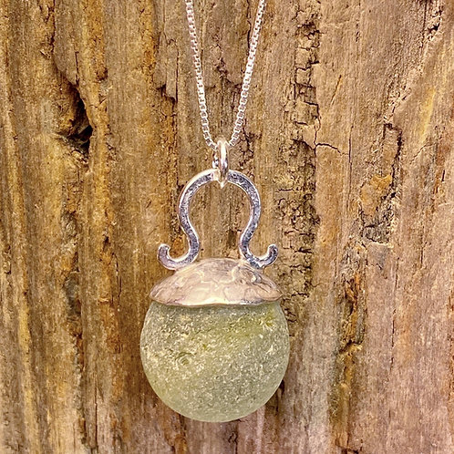 Seaglass Marble Pendant with Large Bail