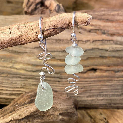 Pale Green Squiggle Seaglass Earrings