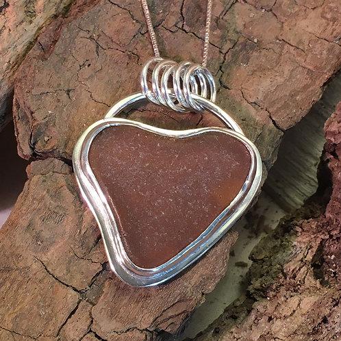 Brown Heart Seaglass Pendant