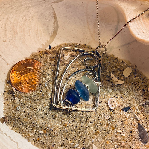 Shades of Blue Seaglass Wave pendant