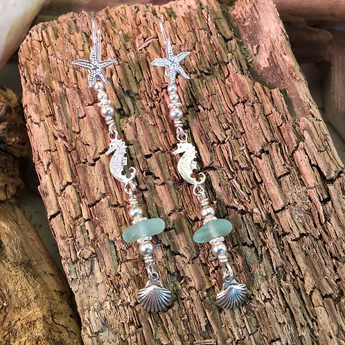 Sterling sealife and seafoam earrings