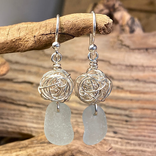 Pale Blue with Silver Nest Earrings