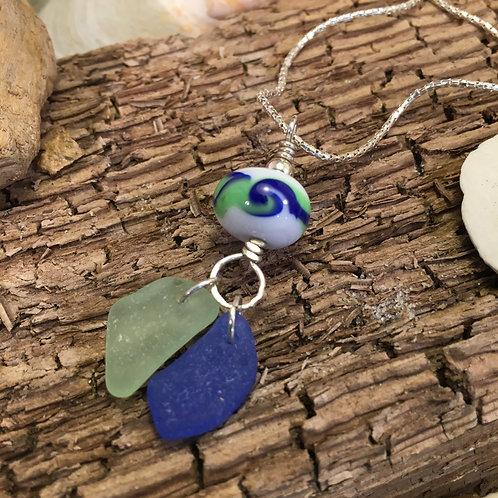 Lime and Cobalt Seaglass Dangle Pendant