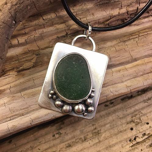 Sterling Silver and Kelly Green Seaglass Square Necklace