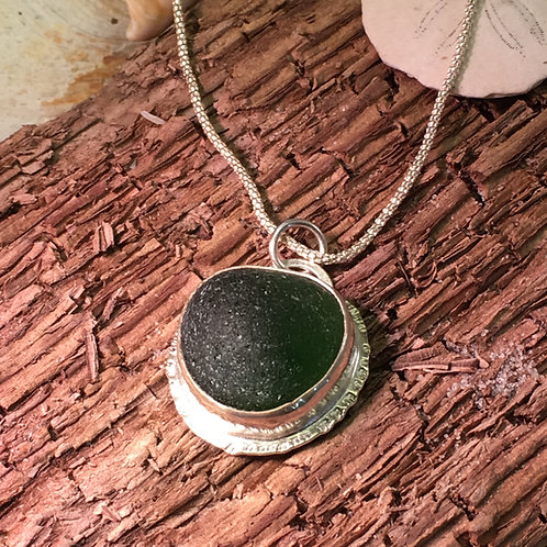 Dark Green Seaglass Pendant