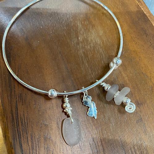 Adjustable Sterling Jersey Bracelet (lavender)