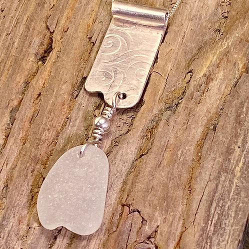 White Seaglass and Sterling Pendant