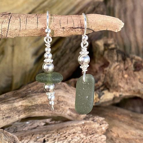 Dark Green Seaglass Earrings