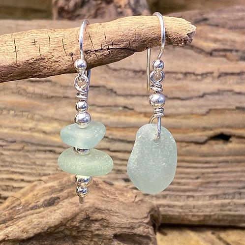 Pale Seafoam Green Seaglass Earrings