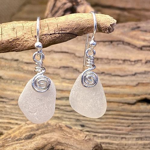 White Seaglass Earrings