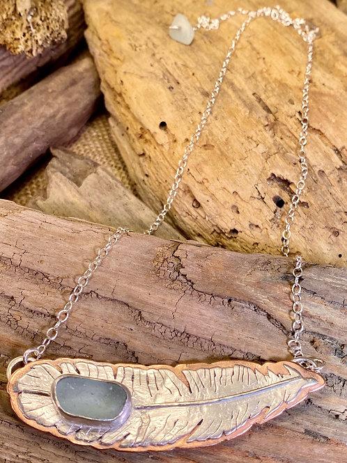 Seafoam Seaglass Feather Necklace
