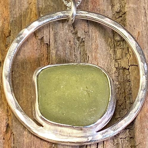 Sage Green Circle Pendant - 2