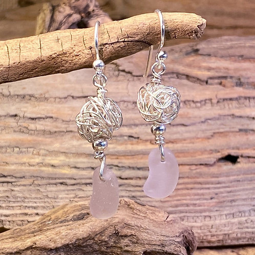 Lavender Seaglass with Silver Nest Earrings