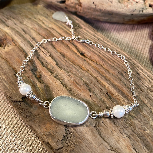 Sterling and Seafoam Seaglass Bracelet