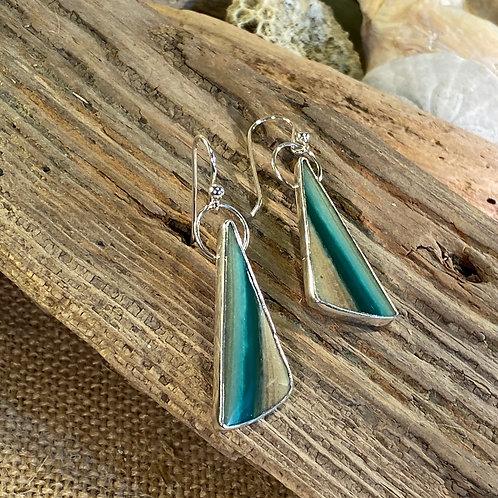 Blue Opalized Petrified Wood triangle earrings