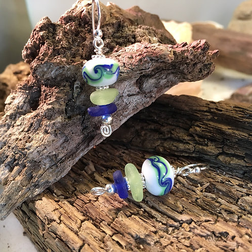 Seafoam and Cobalt seaglass with wave white bead Earrings