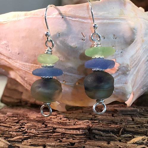 Seafoam and Cobalt seaglass with Glass Bead Earrings