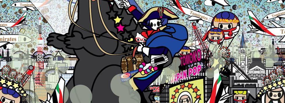 Tomoko Nagao - Napoleon Bonaparte with Godzilla, Louis Vuitton, Chanel, Michelin, Danone, Emirates, Kitty, Barilla, PSP, the Louvre, Fukushima, Shibuya, Tokyo tower, Mt Fuji and Google (2019)