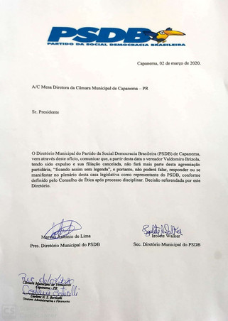 Conselho de Ética do PSDB de Capanema confirma expulsão dos vereadores Paulo Lothermann e Valdomiro