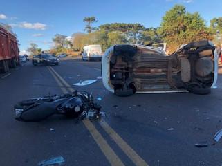 Acidente entre carro e moto deixa duas vitimas fatais na BR 373 entre Coronel Vivida e Candói