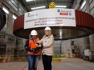 Governadora Cida Borguetti acompanha descida do ultimo Rotor da UHE Baixo Iguaçu