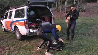 Bombeiros continuam as buscas ao jovem que desapareceu no Rio Capanema