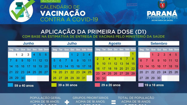 Governo divulga calendário de vacinação contra a Covid-19 para população em geral no Paraná