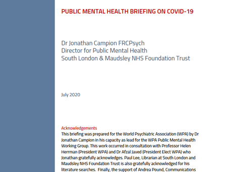 WPA Working Group launches Public Mental Health Briefing on COVID-19