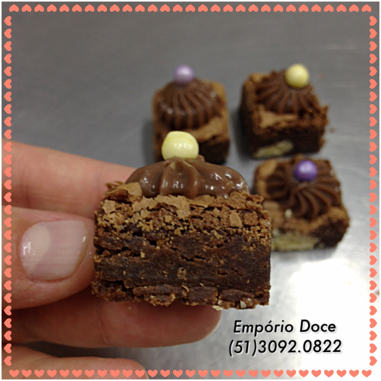 Mini Brownie com topper de brigadeir