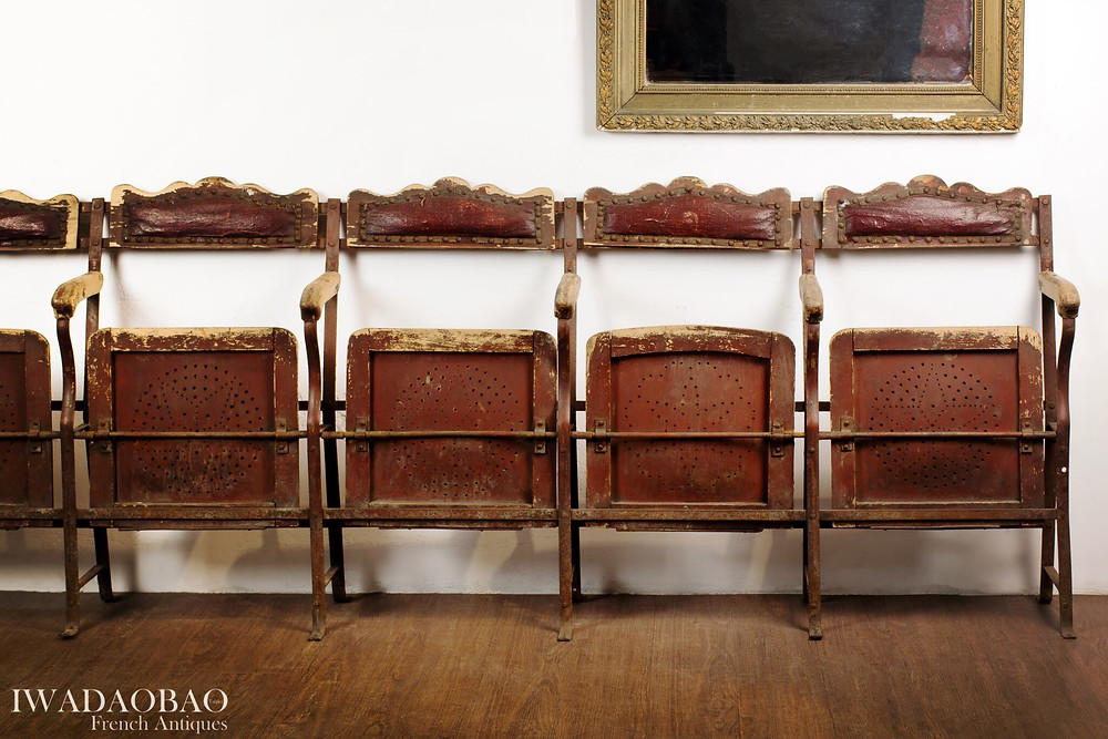 法國劇院牛皮古董木椅