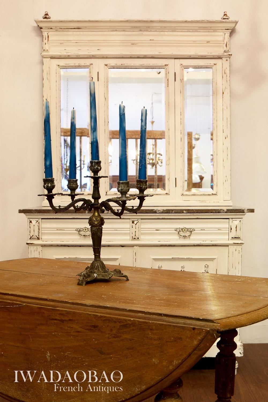 法國古董桌、古董燭台