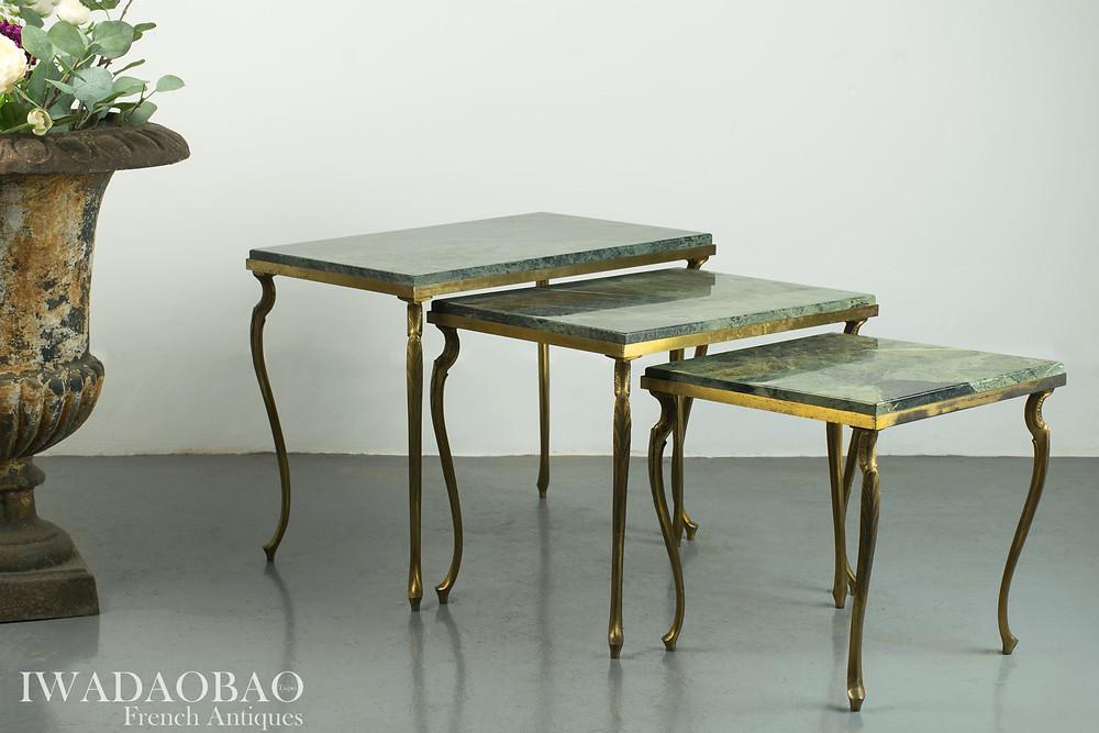 法國 Art deco 大理石黃銅邊桌