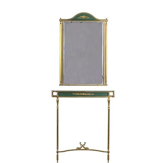 法國 Empire 黃銅古董桌鏡組