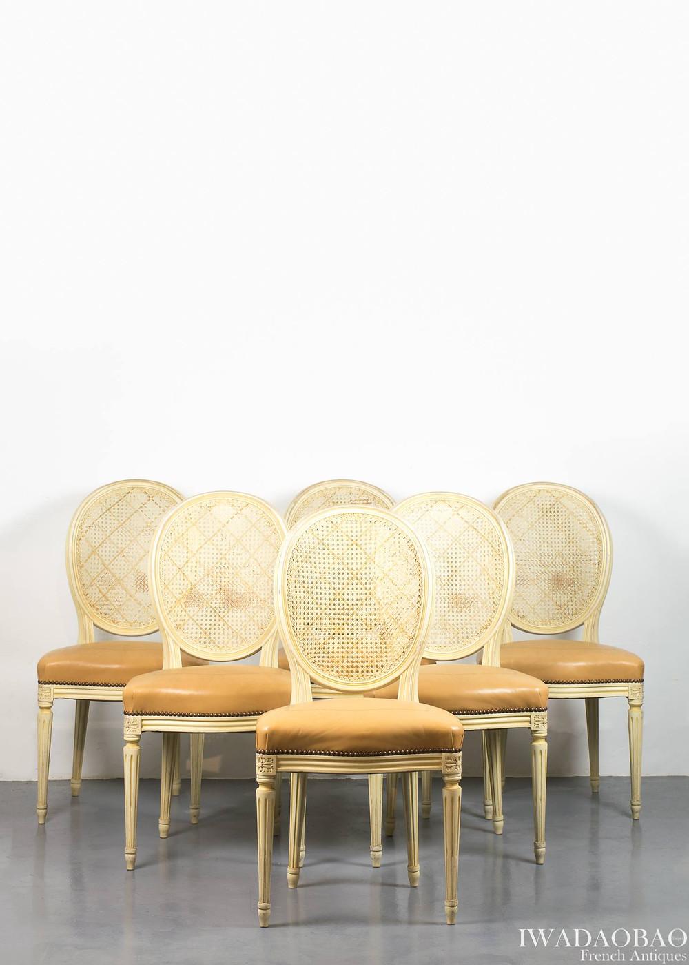 法國路易 XVI 牛皮古董椅