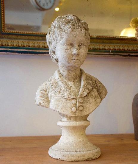 歐洲法國小男孩古董雕像
