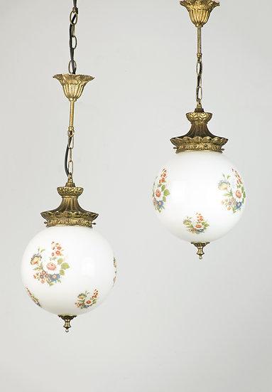 法國玻璃黃銅吊燈