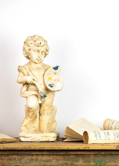 歐洲法國小天使古董雕像