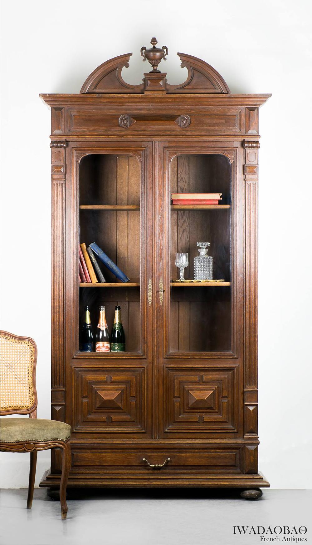 法國拿破崙 III 橡木古董展示櫃