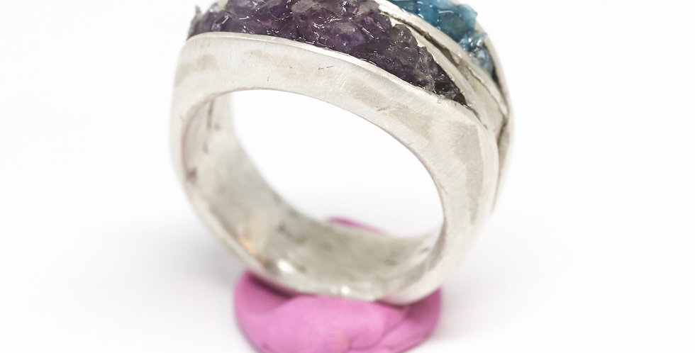 Double Clamshell ring - choose stone