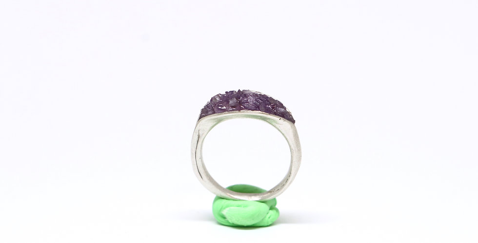 Clamshell ring - Amethyst