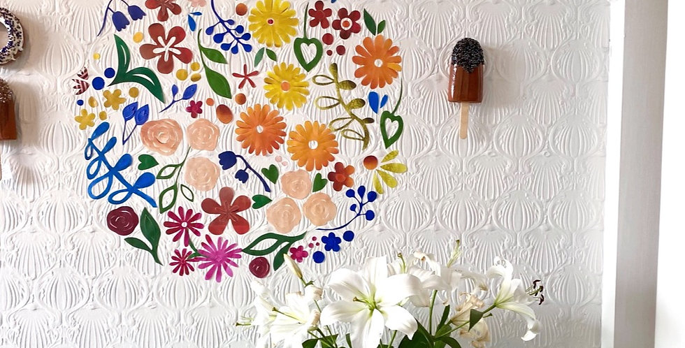 Restickable floral installation