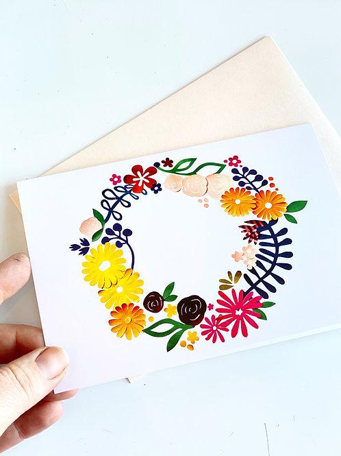 Floral composition - wreath - blank card