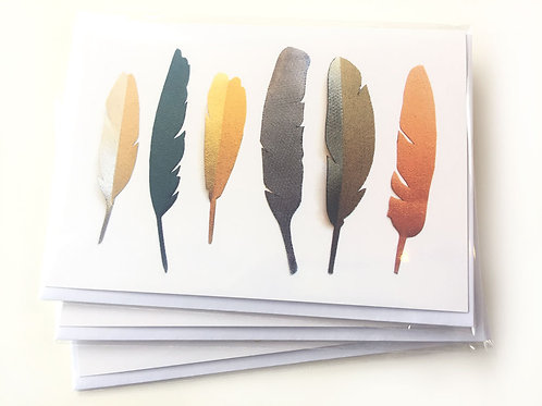 Metallic Fabric Feathers - Blank Card