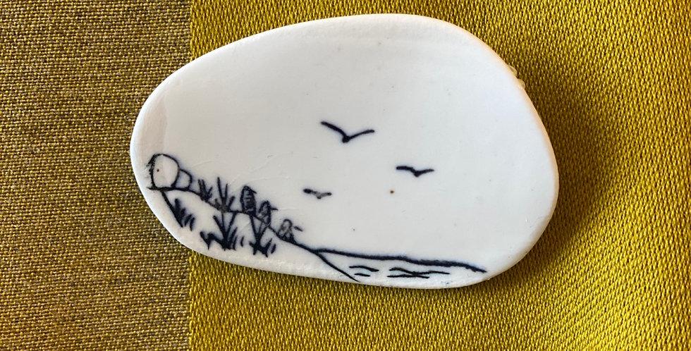 Illustrated Porcelain Penguin Brooch