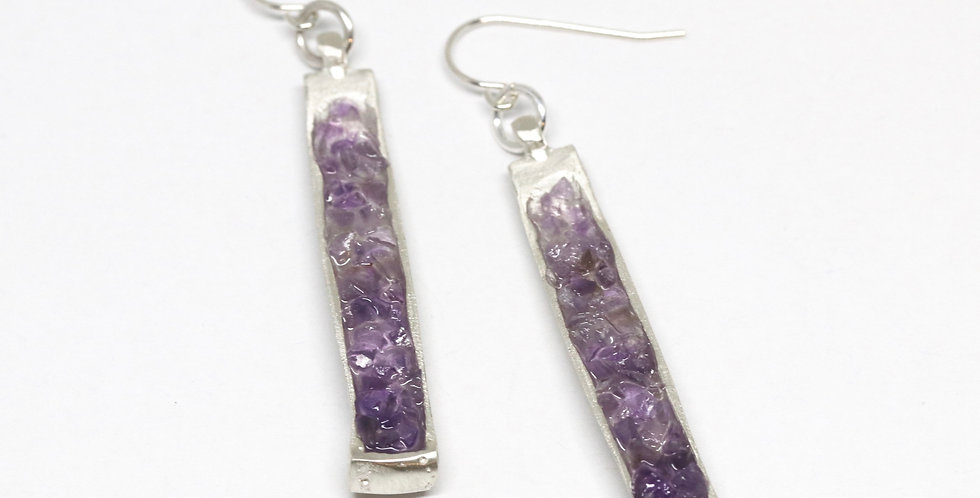 Pendant Drop earrings - Amethyst