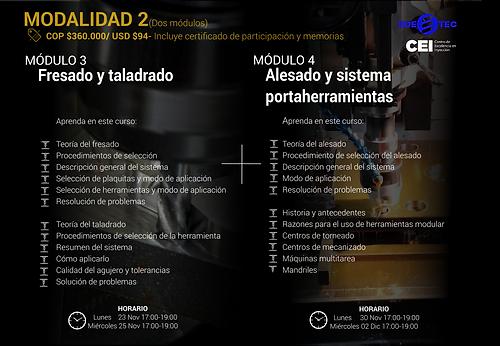 Fresado y taladrado (Módulo 3)  y Alesado y sistema portaherramientas (Módulo 4)