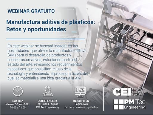 Webinar Gratuito- Manufactura aditiva de plásticos: Retos y Oportunidades